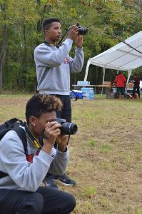 Kerisha Goode '18 and Greg Henderson '17 take photos to document 2016 Chessie Trail Half Marathon and 5K. – Photo courtesy of Maj. Stephanie Hodde.